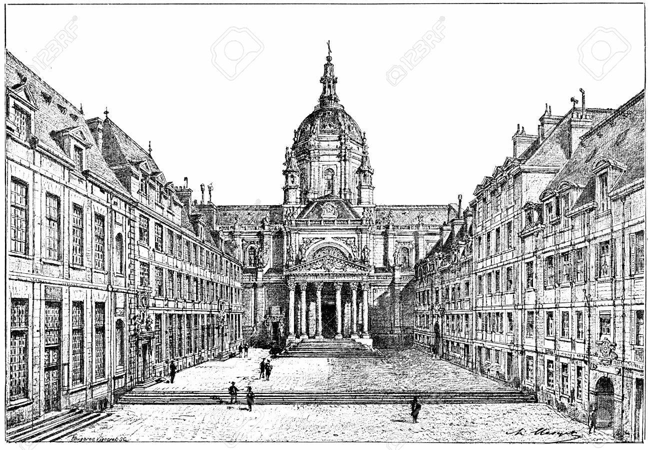 The courtyard of the Sorbonne, vintage engraved illustration. Paris - Auguste VITU – 1890.