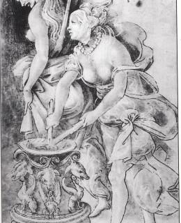Questo bel disegno si trova nella Galleria degli Uffizi a Firenze. E' di Filippo Lippi e ritrae due streghe tanto attraenti che sarebbe un vero peccato bruciarle.
