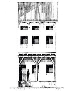 Ricostruzione dell'autore; rilievi e disegno di Remigio Bruschi e Mario Venturi.
